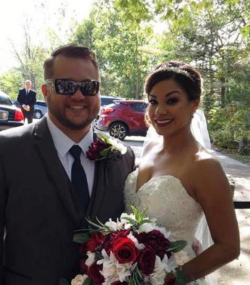 Jennifer Reed and her new husband just after their wedding ceremony at the Thorncrown Chapel in Eureka Springs, Arkansas.